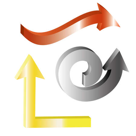 hang up: shiny 3d arrows,spiral, up, zigzag, red arrow, grey arrow, yellow arrow on white background