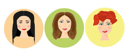 curly tail: Set of women avatars with different hairstyle. Website avatar symbols. Woman web media element collection Illustration