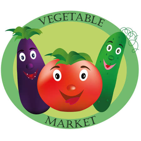 eco slogan: Logo for vegetable market. Tomato, cucumber and eggplant on green background.