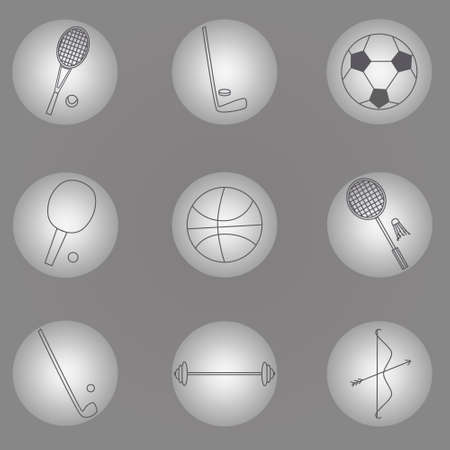 pearly: Set of sport icons, sport equipment on grey background, pearly series.