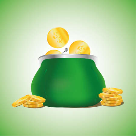 Golden coins falling in green retro purse on light green background. Dollars dropping in open purse. Saving money concept. Illustration