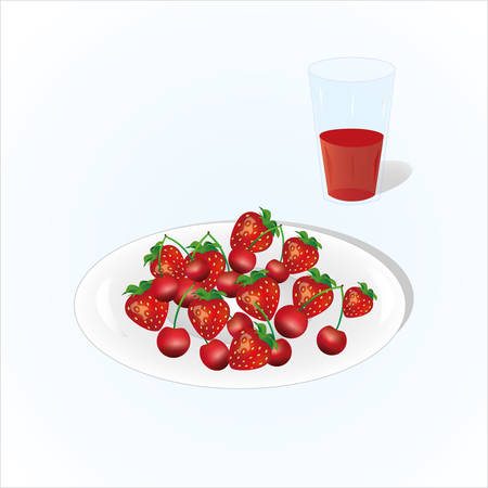 Plate of cherry and strawberry with glass of juice, vine, plate of fruits on light background.