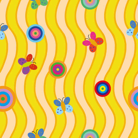 rounds: Seamless pattern with colorful rounds and butterflies on yellow background with waves. Illustration