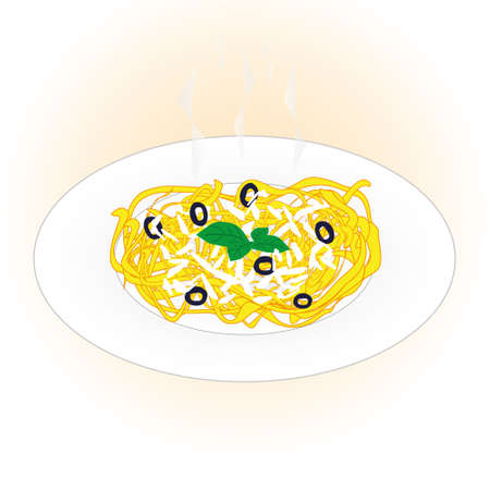 Dish of pasta linguine with cheese, olives and basil on light pink background.