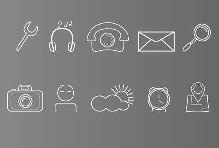 global settings: Set of icons on phone, smart phone, white icons on grey background, set of simple icons.