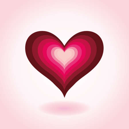 Colorful Heart. Icon on a pink background