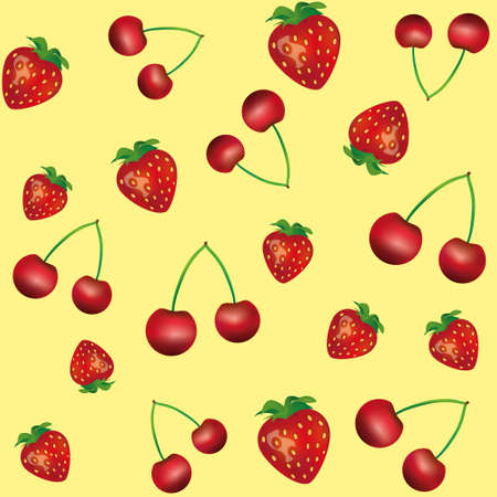 manic: Pattern with cherry and strawberry on yellow background, seamless pattern Illustration