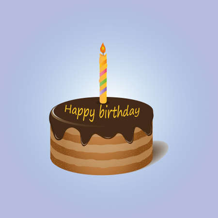 violet background: Chocolate cake with candle Happy birthday on violet background