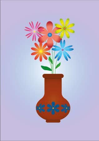 violet background: Flowers in vase on light violet background