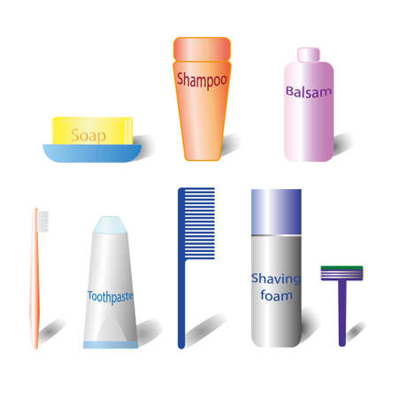 balsam: Set of bath cosmetic. 3d cosmetic bottle. Plastic cosmetic bottle. Bath accessories on white background, shadow