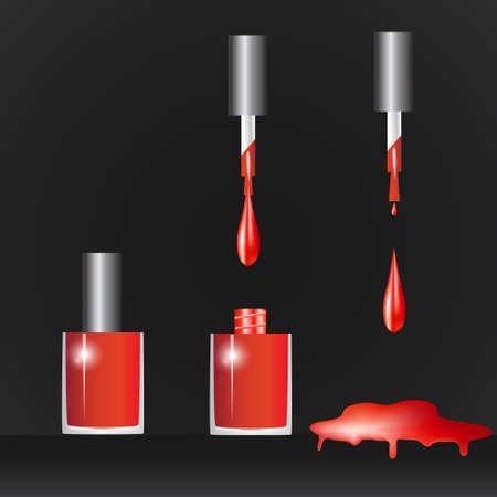 nail polish bottle: Bottle with nail polish, nail polish drop on black background Illustration