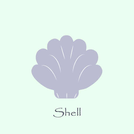Sea shell vector logo template. Shell icon on turquoise background