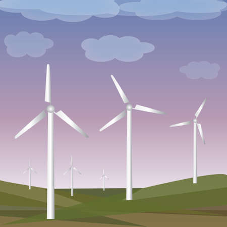 propel: Green meadow with wind turbines generating electricity. Illustration
