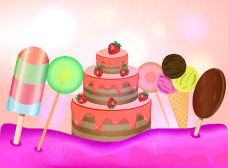 Candy land background. Birthday cake, lollipops and ice cream on pink background. Vector illustration. Illustration