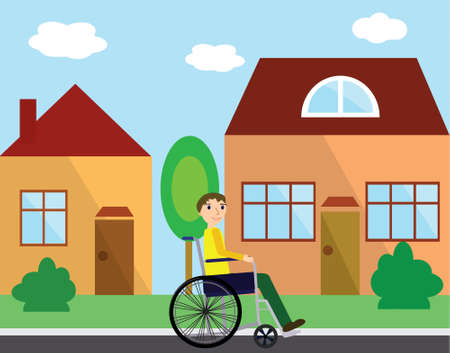 Disabled young man in a wheelchair at street with colorful houses. Flat style. Illustration
