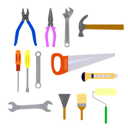 Repair and construction working tools icon set Illustration