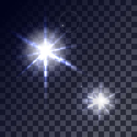 greased: Set of glowing light effects with transparency isolated on plaid vector background. Lens flares, rays, stars and sparkles.