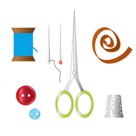 Color set of objects for sewing, handicraft. Sewing tools and sewing kit,sewing equipment, needle, sewing pin, scissors, thimble, buttons, thread, tape. Illustration