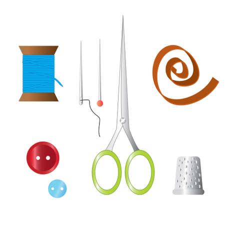 kit de costura: Conjunto de colores de objetos para coser, artesanía. Herramientas de costura y kit de costura, equipo de costura, aguja, alfiler de costura, tijeras, dedal, botones, hilo, cinta.