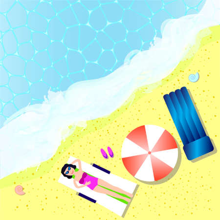 Sea and beach view up. Woman on the beach laying on sunbed with umbrella, inflatable mattress. Summer sea holidays concept, vector illustration