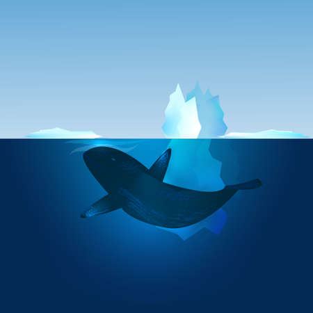 Iceberg in the sea and whale swimming in front of it. North landscape. Vector illustration. Stock Photo