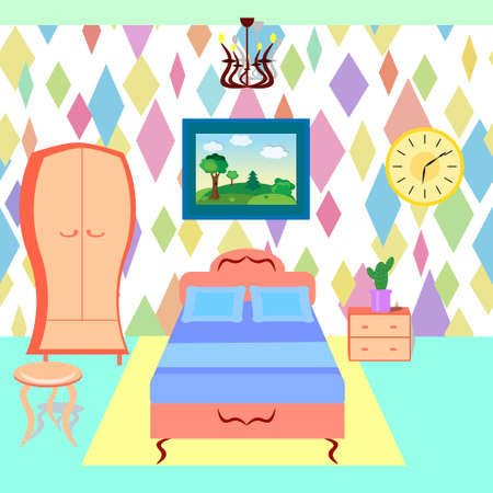 bedroom furniture: Bedroom with furniture. Colorful room. Flat style vector illustration