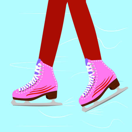 legs woman: Ice skating woman on the rink. Close up illustration of the girl legs wearing skates. vector illustration.