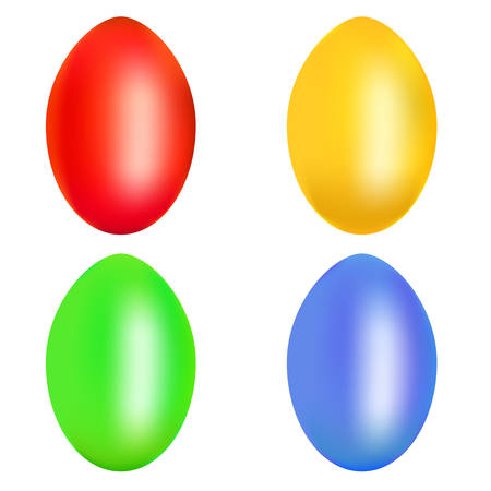 Set of colorful Easter eggs isolated over the white background. Illustration