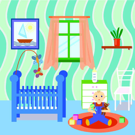 babyroom: Baby room interior with boy playing toys. Flat design. Colorful baby room with many object and toys