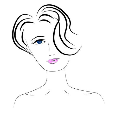 illustration of women short hair style icon, logo women face on white background, vector illustration.
