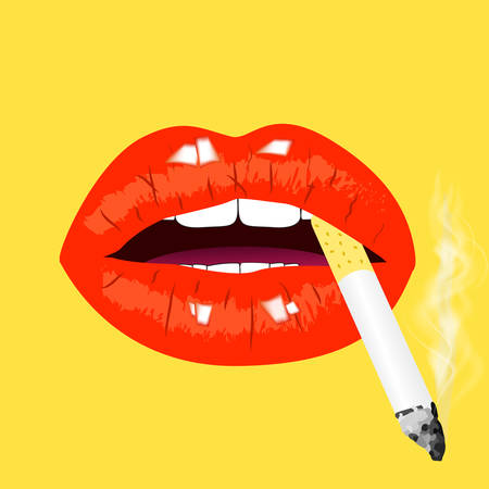 Red lips with cigarette on yellow background. Smoking sign, vector illustration