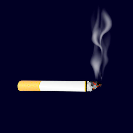 Smoking cigarette on dark background. Burning cigarette with smoke. Vector illustration.