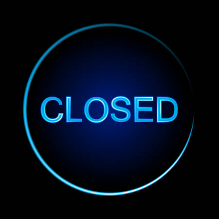 Closed sign on black background. Glowing font. Vector illustration.