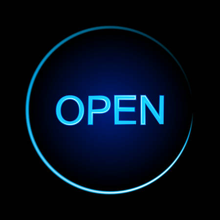 Blue neon sign of the word Open on a black background Ilustrace