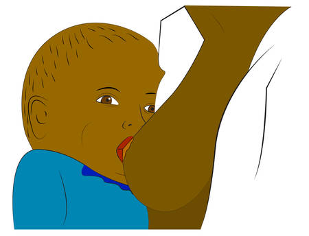 breastfeeding: Vector illustration of mom and her child. Breastfeeding Illustration