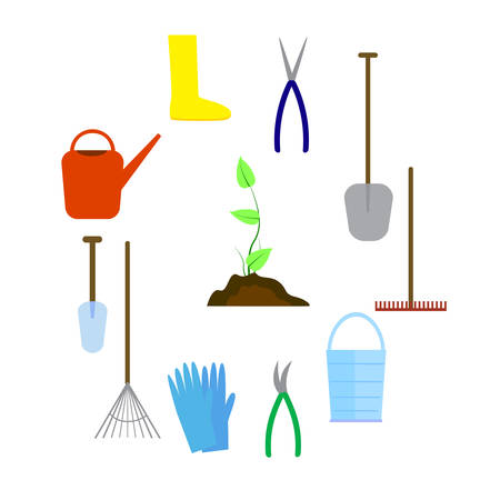 Set of various agricultural tools for garden care, colorful vector flat illustration.
