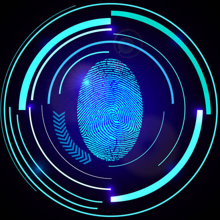 Abstract technology background. Security system concept with fingerprint on dark blue background. Vector illustration