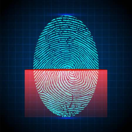 Vingerafdrukscanner, identificatiesysteem. Digitaal beveiligingssysteem, de toegangscontrole. Vector illustratie