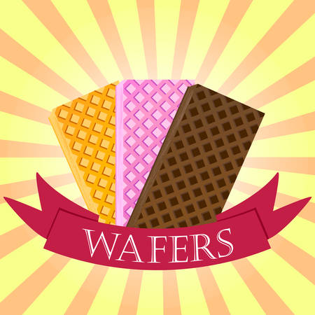 Set of wafers. Waffles logo concept on starburst background. Vector illustration