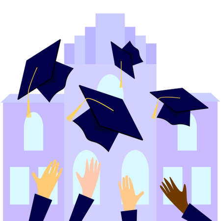 Graduates throwing graduation hats in the air with university back. flat cartoon vector illustration