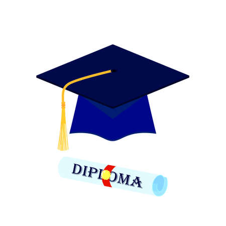 Graduation cap and rolled diploma scroll with stamp. Finish education concept. Flat style vector illustration isolated on white background. Ilustrace