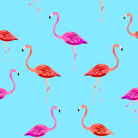 Flamingo seamless pattern on mint blue background. Vector background for design, fabric Ilustrace