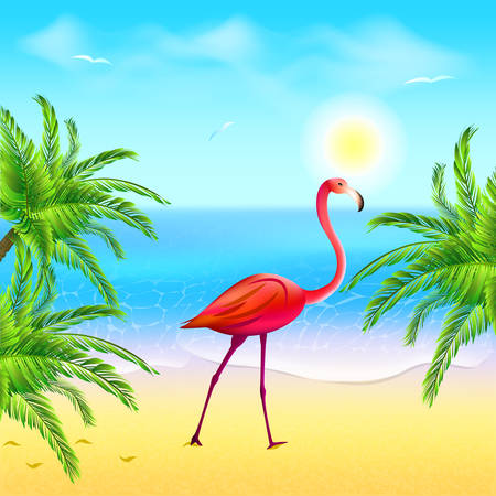 Flamingo on a beach under palm trees against the sky and the sea