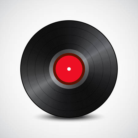 Black vinyl record, red in the middle, isolated on white background with shadow. Vector illustration Ilustrace