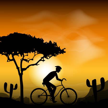 Cycling race. Mountain bike rider with sunset back. Desert landscape. Vector illustration Illustration