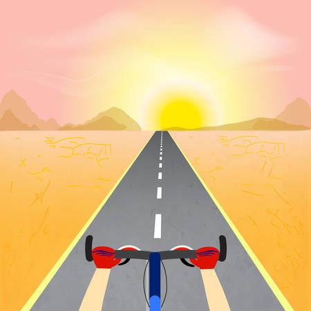 Cyclist riding through a desert landscape towards the sun. Vector illustration Ilustrace
