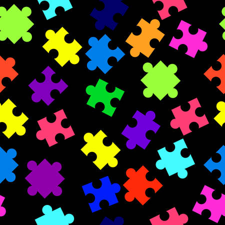 Seamless pattern with colorful pieces of puzzle on black background. Cartoon style