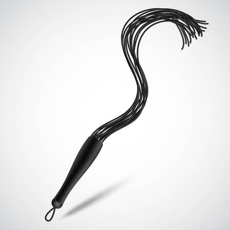 Black leather whip. Illustration