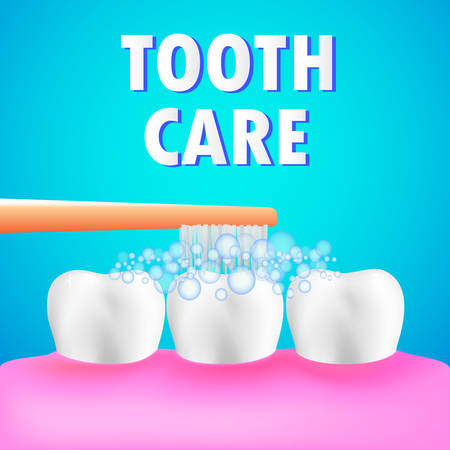 Healthy human teeth and tooth brush. Tooth care concept. Ilustrace