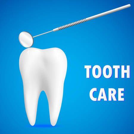 Clean white tooth and dentistry mirror on a blue background. Tooth care concept. Realistic tooth.